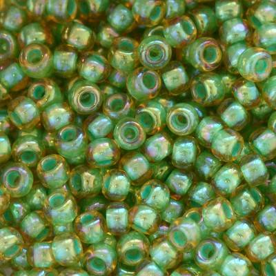 Toho beads round inside-color rainbow lt jonquil/mint lined 2 mm TR-11-1830