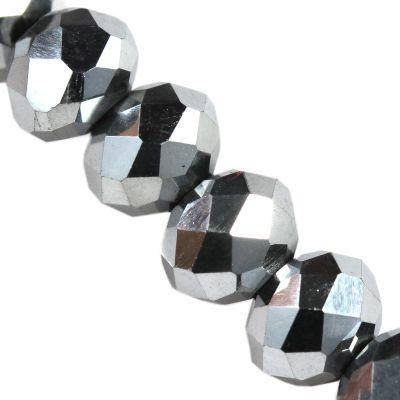 CrystaLine rondelle ασημένια σφαιρίδια 3 χ 4 mm / κρύσταλλο / crystal beads