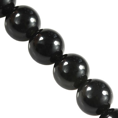 black obsidian beads 4 mm / semi-precious stone synthetic
