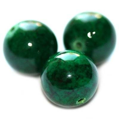 round beads marble dyed green 10 mm