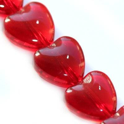 glass beads heart red 10 mm