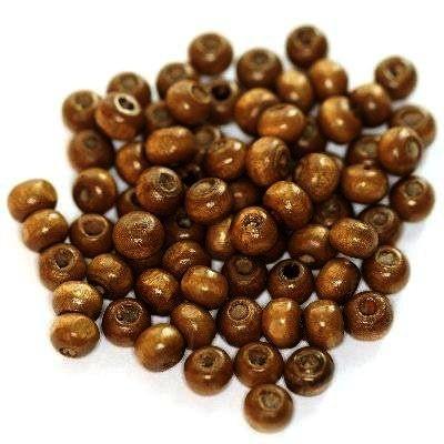 perles rondes en bois brun clair 5 x 6 mm