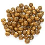 round wooden beads light brown 5 x 6 mm