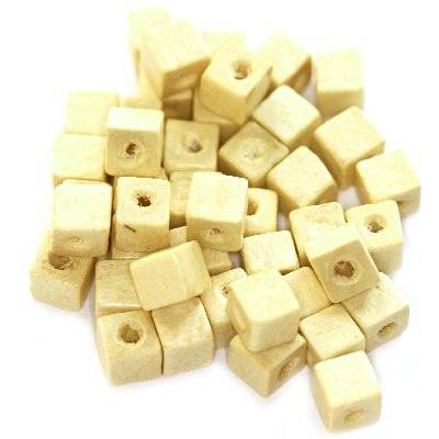 cubes wooden beads white 6 mm