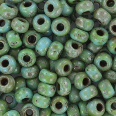Miyuki round beads opaque picasso turquoise blue 6/0