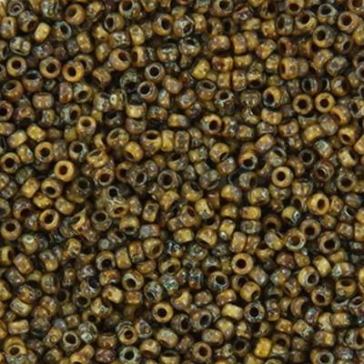 Miyuki round Perlen opaque picasso brown 15/0 #15-4517