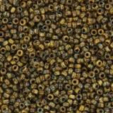 Perline Miyuki round opaque picasso brown 15/0 #15-4517