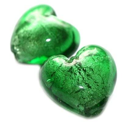 koraliki lampwork serca zieleń 20 mm