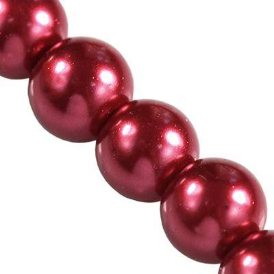 glass pearls maroon 6 mm