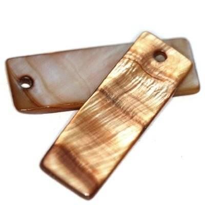 pendentifs nacre rectangles bruns 10 x 30 mm