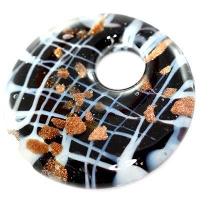 Perles de verre pendentifs cercles web noir avec de l'or 42 x 42 mm
