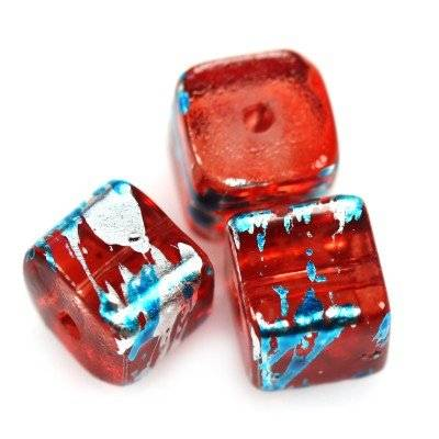 glass beads cubes cosmic red with blue 6 mm