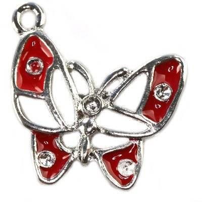 pendentifs charms papillon rouge 22 x 22 mm