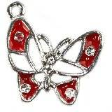 charms pendants red butterfly 22 x 22 mm
