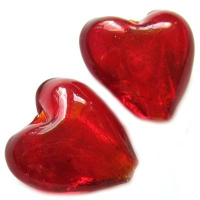 lampwork red 20 mm heart