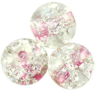 crackle beads beads pink color inside 10 mm
