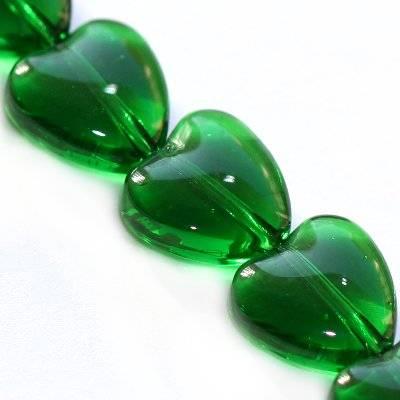 glass beads heart green 10 mm