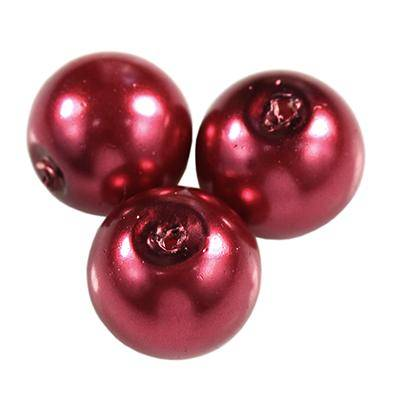 glass pearls maroon 8 mm