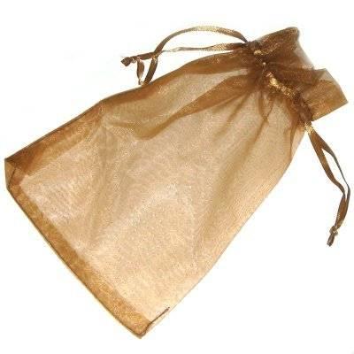 sacchetto marrone organza 12 x 18 cm