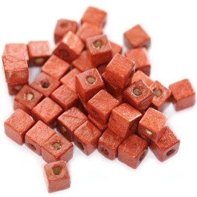 cubes wooden beads red 6 mm
