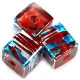 kostki kosmiczne czerwone z niebieskim 8 mm