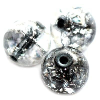 koraliki crackle kule czarny środek 10 mm