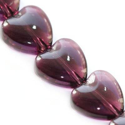 glass beads heart amethyst 10 mm