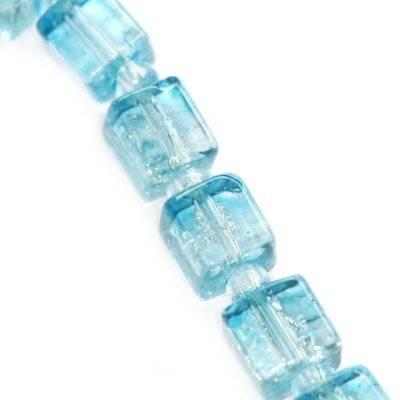 koraliki crackle kostki błękitne 4 mm