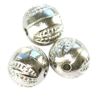 barrels silver plastic beads 9,5 mm
