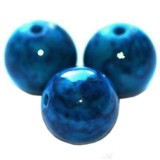 marble beads dyed blue 10 mm / natural stone dyed