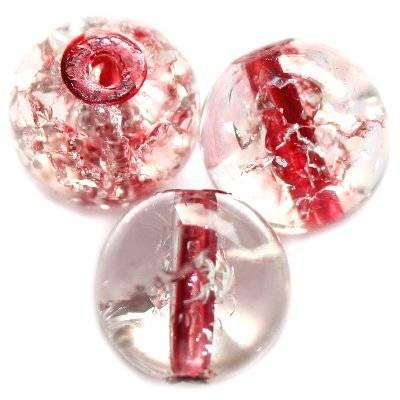 koraliki crackle kule czerwony środek 12 mm