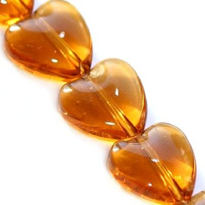 glass beads heart brown 10 mm