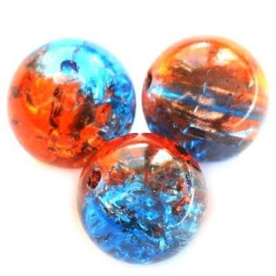 koraliki crackle kule czerwono niebieskie 12 mm / koraliki szklane