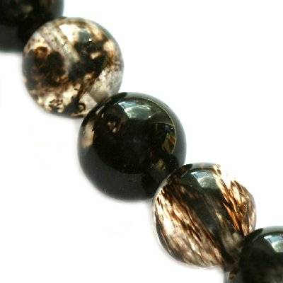 round beads black moss quartz 6 mm