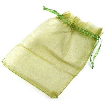 organza bag green 12 x 18 cm
