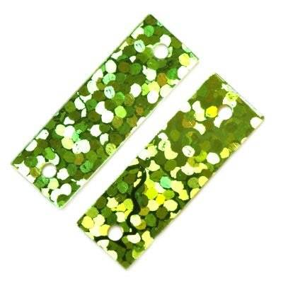 sequins laser rectangles green 6 x 19 mm