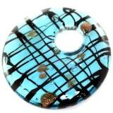 lampwork beads pendants circles blue web with gold 42 x 42 mm