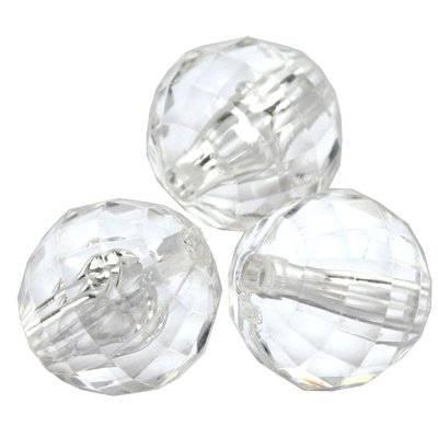 boules taillées transparantes 14 mm