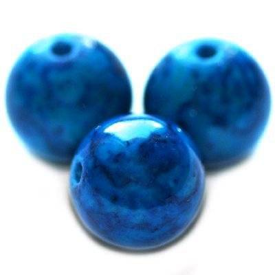 marble beads dyed blue 12 mm / natural stone dyed