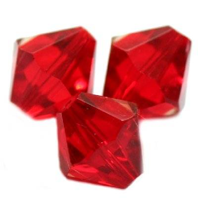 glass bicone hand cut red 10 mm