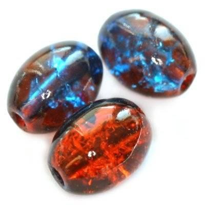 crackle owale czerwono niebieskie 6 x 8 mm