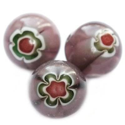 Perline all'ametiste millefiori fiorello 12 mm