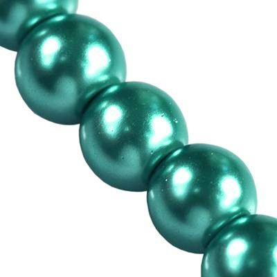 glass pearls emerald 6 mm