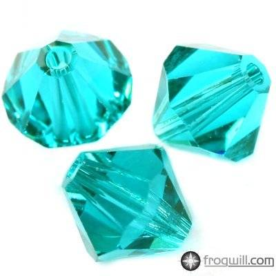 Swarovski bicone beads blue zircon 6 mm