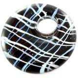 lampwork beads pendants circles black web 42 x 42 mm