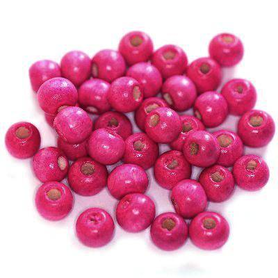 round wooden beads pink 7 x 8 mm