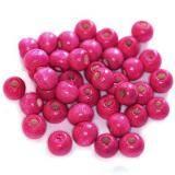 koraliki drewniane kule różowe 7 x 8 mm