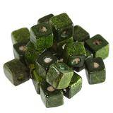 cubes wooden beads dark green 8 mm