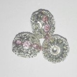 spacers beads with zircons rose 6 mm