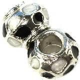 koraliki modułowe czarno-srebrne kwiaty wazy 9 x 13 mm